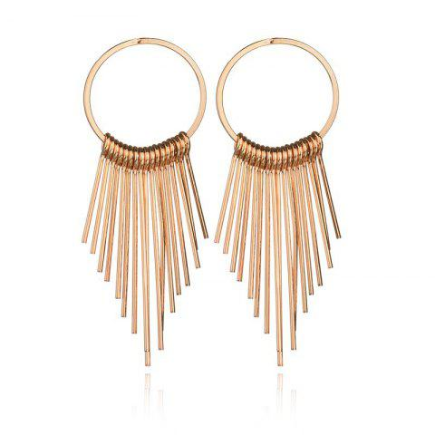 Fashion Metal Tassel Simple Vintage Geometric Round Tassel Earrings - GOLD 1 PAIR