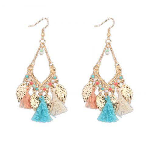 Bohemian Fashion Leaf Tassel Drop Earrings - multicolor 1 PAIR