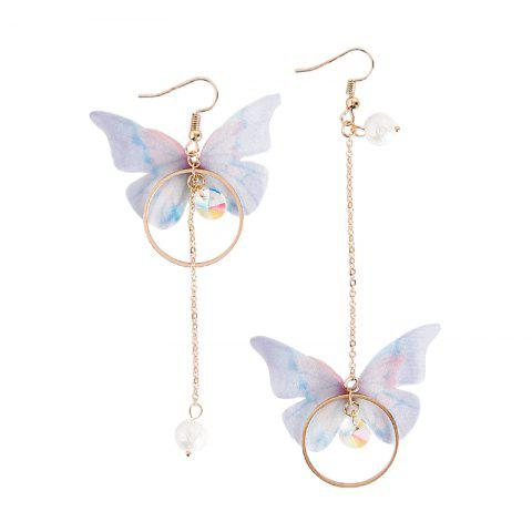 Fashion Vintage Butterfly Long Circle Wings Mismatch Earrings - GOLD 1 PAIR