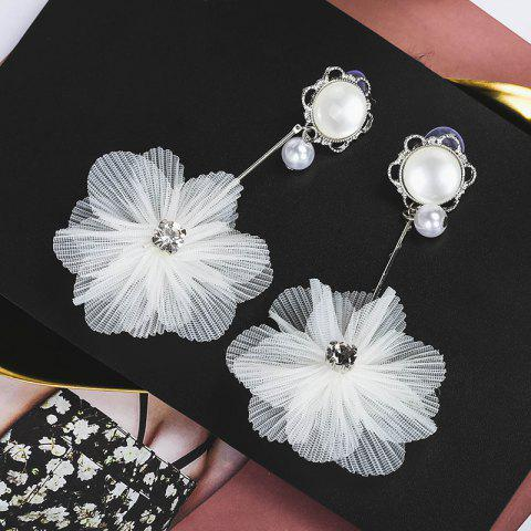 Fashionable White Lace Flower Drop Earrings - WHITE 1 PAIR