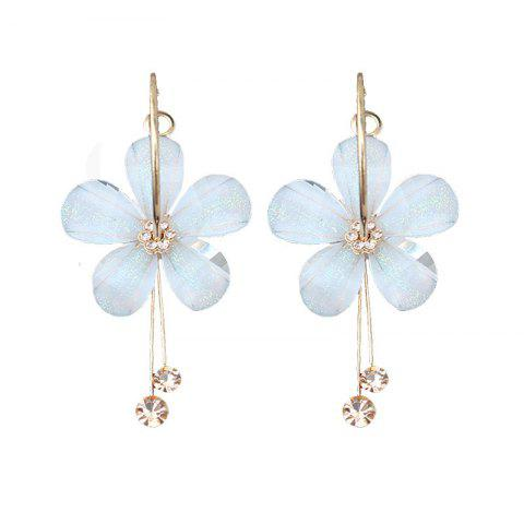 Fashion Flower Acrylic Rhinestone Tassel Drop Earrings - WHITE 1 PAIR