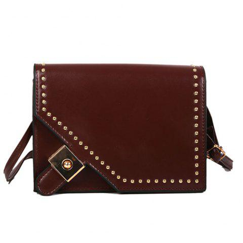 Fashion PU Ladies Messenger Bag Fashion Rivet Shoulder Bag Casual Small Backpack - BROWN REGULAR