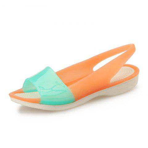 Fish Mouth Shoe Slope And Jelly Color Female Sandals - GREEN EU 35