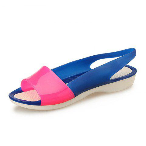 Fish Mouth Shoe Slope And Jelly Color Female Sandals - ROSE RED EU 35