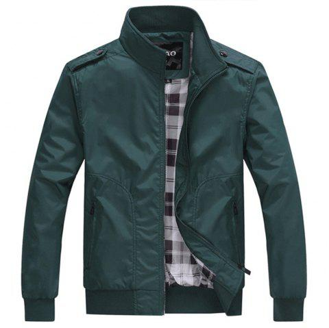 New Man Fashion Autumn Winter Stand Collar Full Sleeve Solid Jacket Coat - ARMY GREEN M
