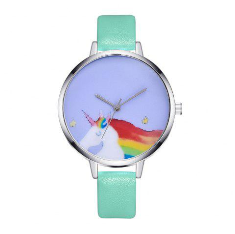 New Simple Cartoon Horse Illustration Quartz Belt Watch - AQUAMARINE