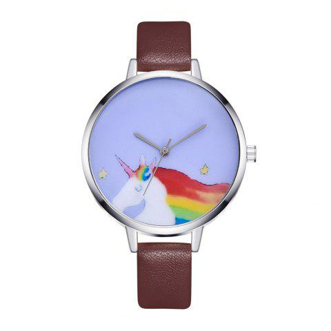 New Simple Cartoon Horse Illustration Quartz Belt Watch - BROWN