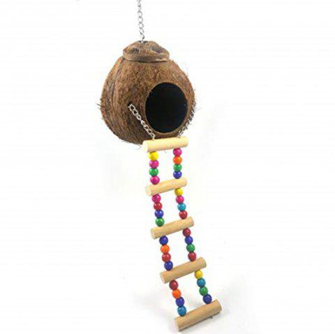 Coconut Shell Bird Nest Parrot Budgie Gerbil Mice Cage Feeder Toy - DEEP BROWN
