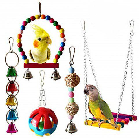 5PCS Parrot Hanging Bird Cage Hammock Swing Toy - multicolor A