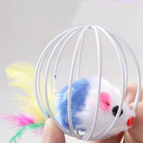 Cage Ball Cage with The Cat Toys with Feathers Rabbit Mouse in A Cage - SKY BLUE