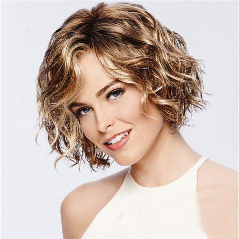 Stylish Vitality Lady Fluffy Short Curly Hair High Temperature Wig - CHAMPAGNE GOLD 12INCH