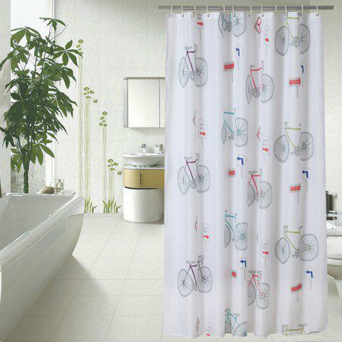 Punch-Free Waterproof Bicycle Pattern Bathroom Curtain Thickening - multicolor 1.8*1.8M