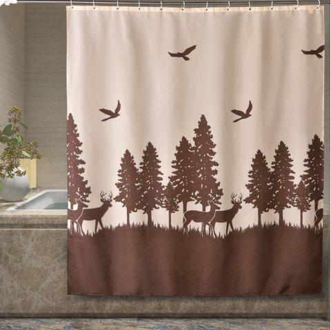 Deer Print Bathroom Partition Thick Waterproof Polyester Cloth Shower Curtain
