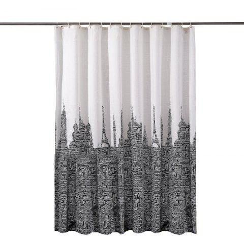 Letter Tower Printed Polyester Waterproof Shower Curtain - multicolor 1.8*1.8CM