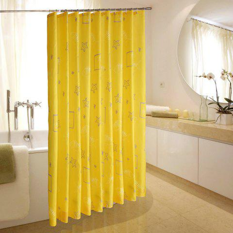 Shell Printed Polyester Fabric Waterproof Shower Curtain - YELLOW 1*1.8M