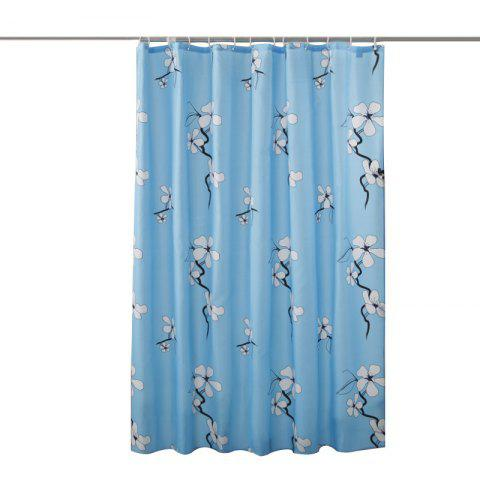 Lame Printed Polyester Fabric Plain Waterproof Shower Curtain - DODGER BLUE 1*1.8M
