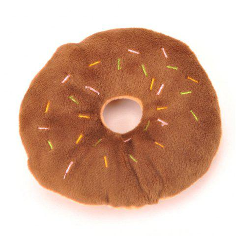 Cute Donut Plush Vocal Pet Toy - BROWN