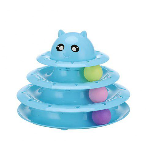 Pet Three Layer Turntable with Ball Cat Fun Toy Cat - multicolor C PACK OF 1