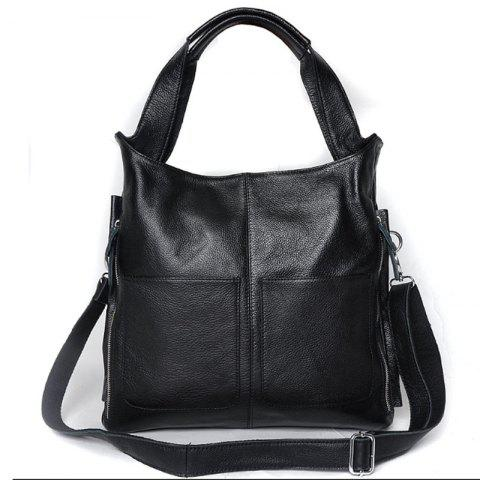 Real Leather Handbag With Tote Bag For Ladies - BLACK