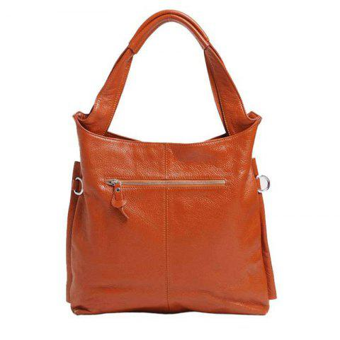 Real Leather Handbag With Tote Bag For Ladies - BROWN