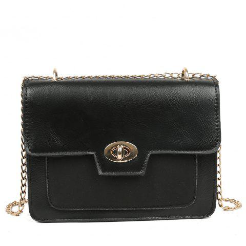 PU Ladies Messenger Bag Fashion Lock Shoulder Bag Chain Handbag - BLACK REGULAR