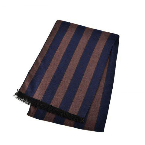 Fashion Striped Winter Long Classic Men Cotton Scarf - BROWN 1PC