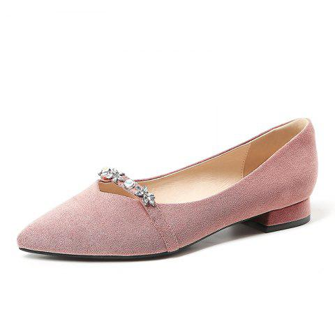 New Pointy Leather with A Lot of Shallow Low Heels - PINK EU 35