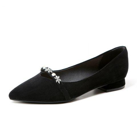 New Pointy Leather with A Lot of Shallow Low Heels - BLACK EU 37