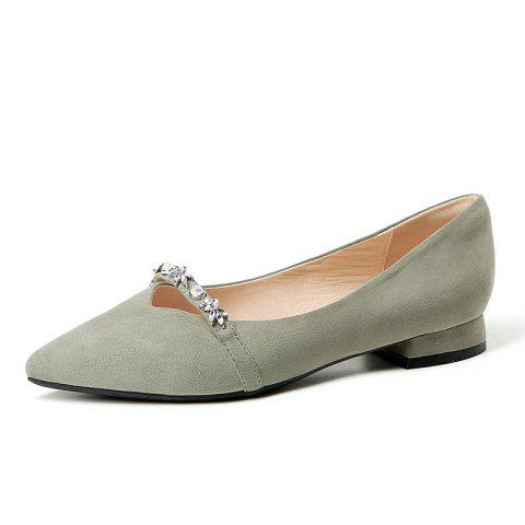 New Pointy Leather with A Lot of Shallow Low Heels - SHAMROCK GREEN EU 37