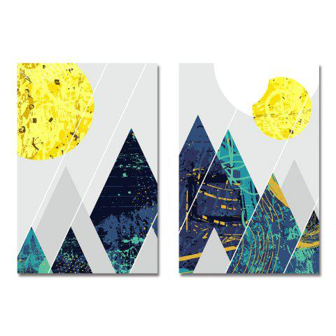 DYC 2PCS Geometric Peak Pattern Print Art - multicolor