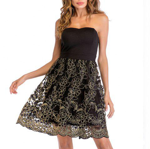 9fb2d4923fc Fashion Lace Embroidered Sexy Tube Top Strapless Stitching A Dress - BLACK  2XL