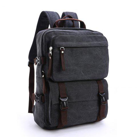 New Men's Canvas Backpack Leisure Computer Bag - BLACK