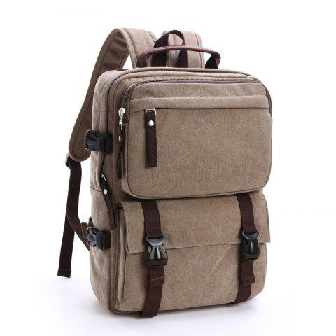 New Men's Canvas Backpack Leisure Computer Bag - GRAY