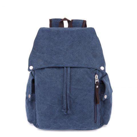 ZUOLUNDUO Women's Canvas Shoulder Bag In Fashionable Solid Color - DEEP BLUE