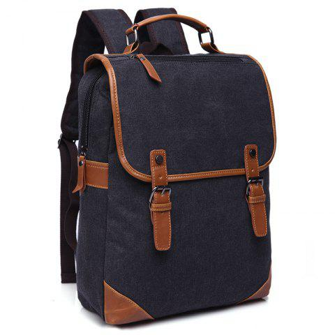 ZUOLUNDUO Vintage Men's Canvas Backpacks Casual Men's Bags - BLACK
