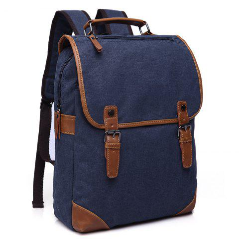 ZUOLUNDUO Vintage Men's Canvas Backpacks Casual Men's Bags - DEEP BLUE