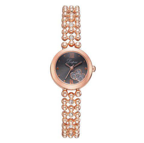 Fashion Lady Love Drill Drops of Glue Gold Bracelet Watch Roman Numerals Watches - multicolor C