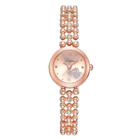 Fashion Lady Love Drill Drops of Glue Gold Bracelet Watch Roman Numerals Watches - ROSE GOLD