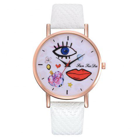 The Trend of Perfume Graffiti Mirror Quality Character Belt Alloy Watch - WHITE