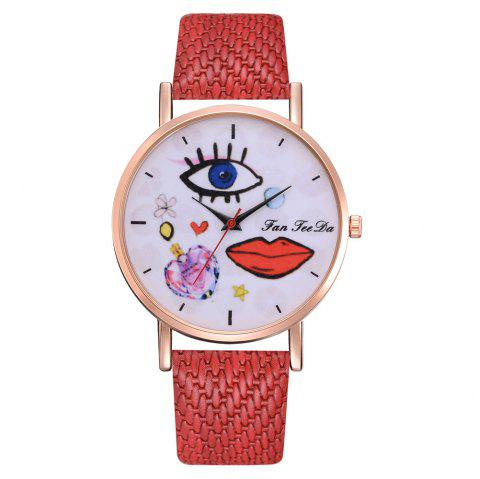 The Trend of Perfume Graffiti Mirror Quality Character Belt Alloy Watch - RED