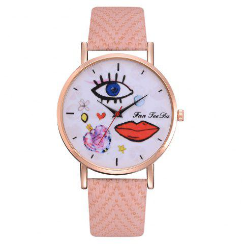 The Trend of Perfume Graffiti Mirror Quality Character Belt Alloy Watch - PINK
