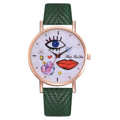 The Trend of Perfume Graffiti Mirror Quality Character Belt Alloy Watch - DEEP GREEN
