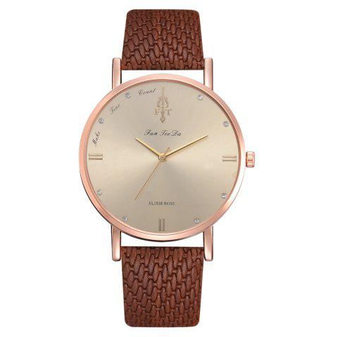 Selling Ladies Watch Fashion Leisure Brand PU Belt Quartz Watches - DEEP COFFEE