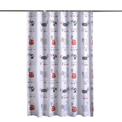 Cartoon Cat Thickening Mildew Polyester Fabric Shower Curtain - multicolor 1.8*1M