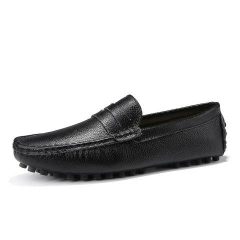 Casual Shoes  Leather Driving loafers - BLACK EU 48