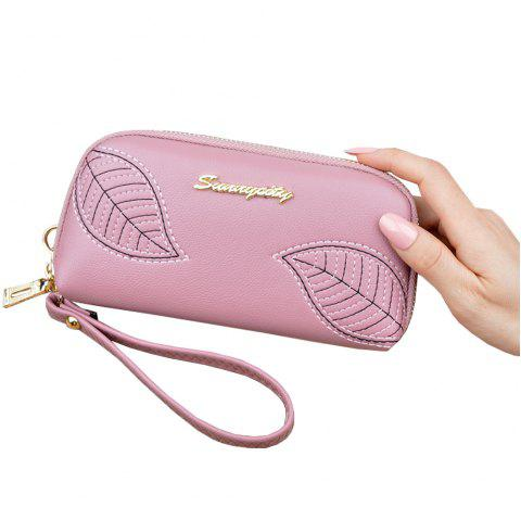 New Embroidered Leaves Ladies Long Zipper Clutch Wallet Fashion Purse - PINK ONE SIZE