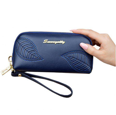 New Embroidered Leaves Ladies Long Zipper Clutch Wallet Fashion Purse - CADETBLUE ONE SIZE