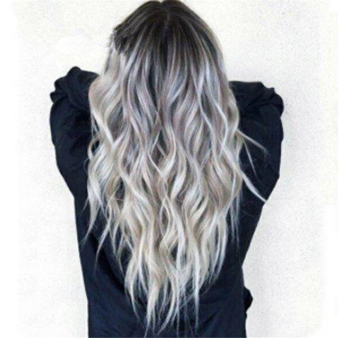Bleaching Dyed Long Curly Hair COS Gray Gradient Female Chemical Fiber Hood - multicolor A 28 X 17 X 5CM