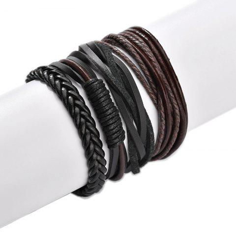 Men Hand - Made Multi - Layer Bracelet Leather Woven Bracelet - COFFEE PACK OF 4