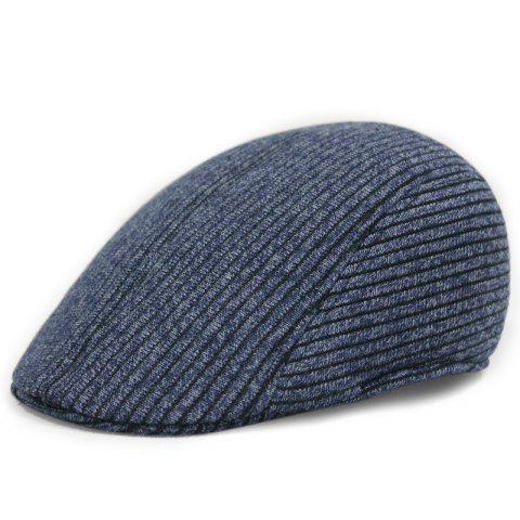 Warm knitted beret + adjustable for 57-58cm - BLUE